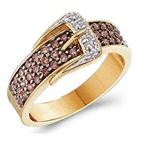 Chocolate Diamond Belt Buckle Ring Champagne 14k Yellow Gold