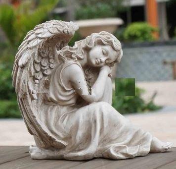 【ノーブランド品】 ヨーロピアン アンティーク風 立膝で眠る 天使 ガーデンオーナメント