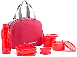 Signoraware Sling Plastic Lunch Box Set, 5-Pieces, Red