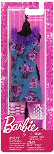 Barbie Trend Outfits - Blue Floral Dress w/ Purple Ruffle