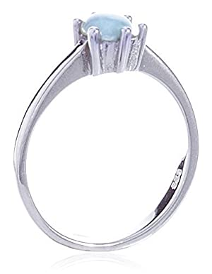 Alma, Unisex 925 Sterling Silver Simple Pale Blue Stone Top Solid Flat Ring,size 5