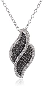 Sterling Silver Black and White Diamond Flame Pendant Necklace (1/10 cttw, J-K Color, I2-I3 Clarity), 18