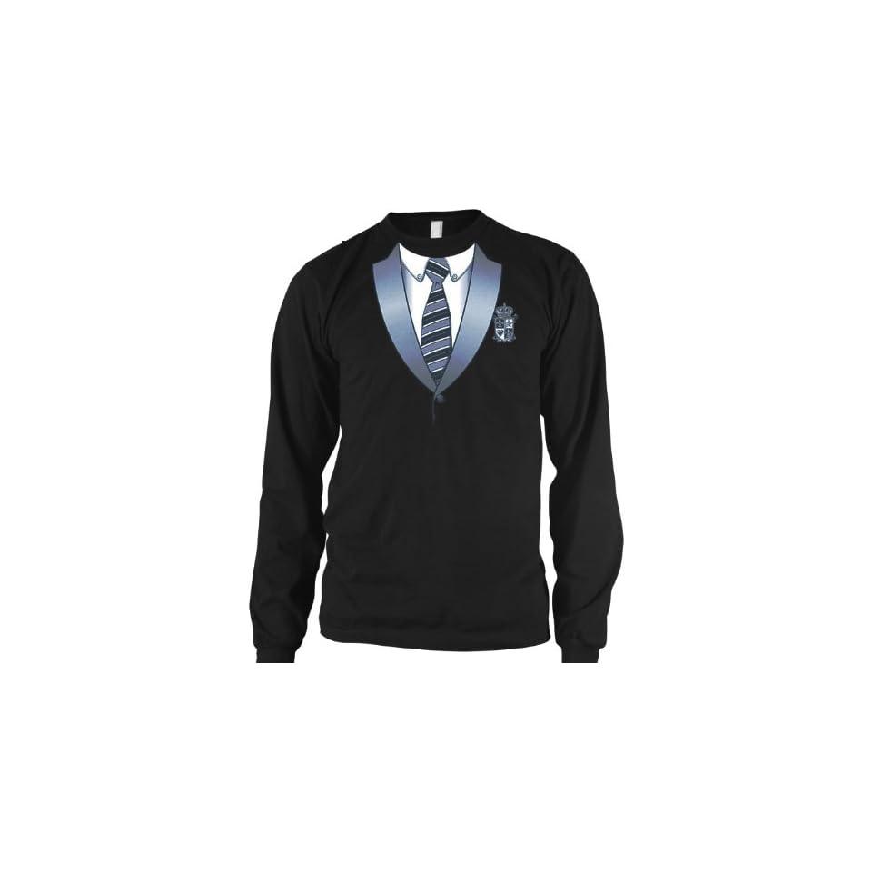 Varsity Style Tuxedo Mens Thermal Shirt, Funny Trendy Gag Fake Tux Necktie Mens Long Sleeve Thermal Shirt Clothing