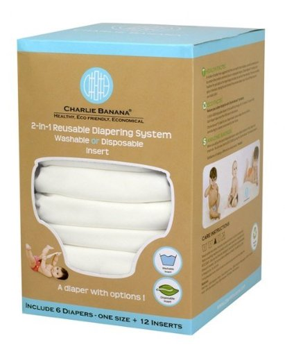Charlie Banana 889423 One Size All White Diaper (Set Of 6) - 12 Inserts front-1006783