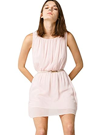 Mango Women's Pleated Flowy Dress, Light Pink, 10 at Amazon Women's ...