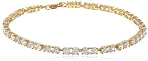 "Platinum Plated or 18k Yellow Gold Plated Sterling Silver Round Simulated Diamond Tennis Bracelet (4.5 cttw), 7.25"" by PAJ, Inc"