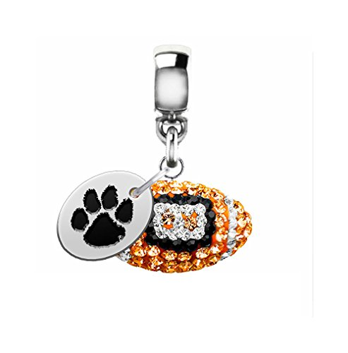 Clemson Tigers Crystal Football Drop Charm Fits All European Style Charm Bracelets