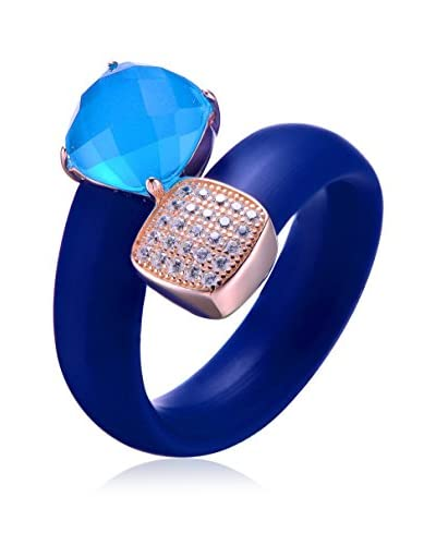 Alberto Moore CZ & Blue Crystal Blue Silicone Bypass Ring, Blue/Rose