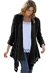 Women\'s Plus Size Sweater, Open Front Cardigan Black,3X