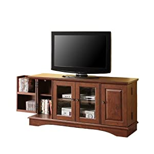 52 brown wood tv stand with storage home entertainment centers. Black Bedroom Furniture Sets. Home Design Ideas