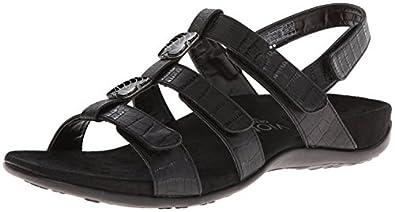 Orthaheel Vionic Amber - Womens Slide Sandal - Orth Black Crocodile - 5 Medium