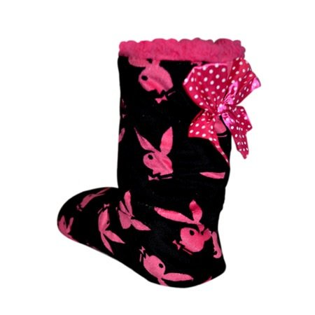 playboy-womens-warm-winter-bootie-lounging-slippers-black