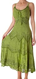 AA4012 - Stonewashed Rayon Embroidered Adjustable Spaghetti Straps Long Dress ( Various Colors & Sizes ) - Green/L/XL