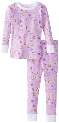 New Jammies Little Girls' Spring Flowers Organic Pajamas, Purple, 4T front-113590