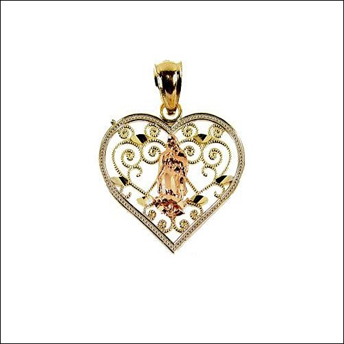 14k Tricolor Gold, Virgin Mary Guadalupe Heart Pendant Charm 19mm Wide