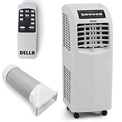 DELLA 048-GM-48266 8,000 BTU Portable Air Conditioner Cooling Fan Dehumidifier A/C Remote Control + Window Vent Kit, White