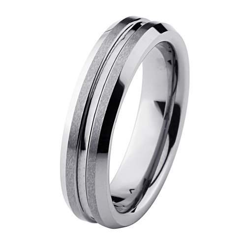 6mm Beveled Flat Brushed & Grooved Center Cobalt Free Tungsten Carbide COMFORT-FIT Wedding Band Ring for Men and Women (Size 5 to 12) - Size 11.5