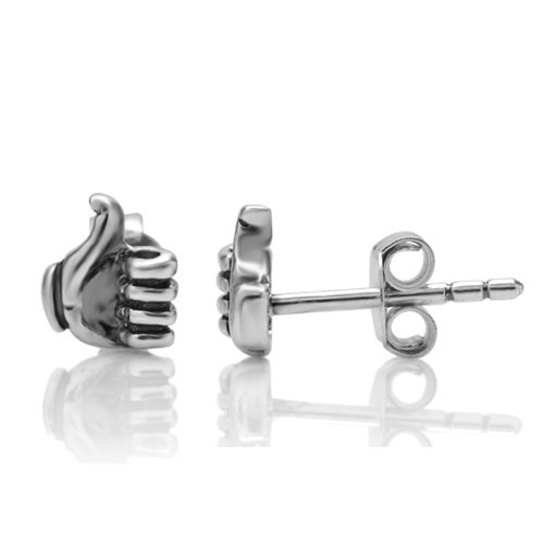 925 Sterling Silver Tiny Thumb Up Facebook Like Symbol Post Stud Earrings Jewelry 6 mm