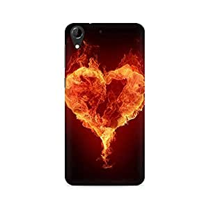Mobicture Fire Heart Premium Printed Case For HTC Desire 728