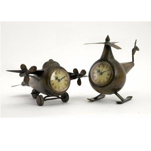 Expedition Set of 2 Lindbergh Aviation Clocks, Bronze