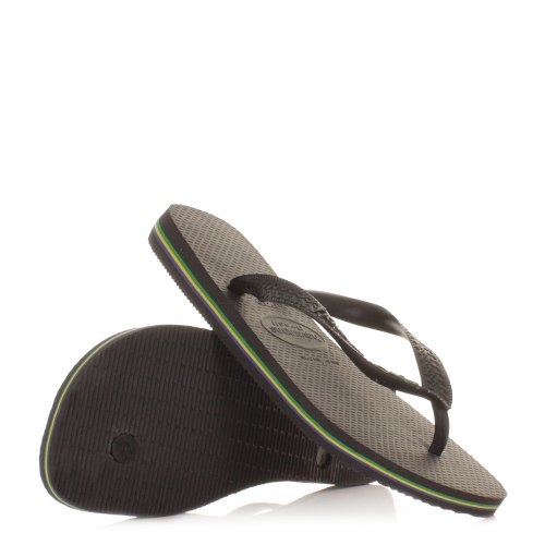 Havaianas Unisex Brasil Black Flip Flops Sandals