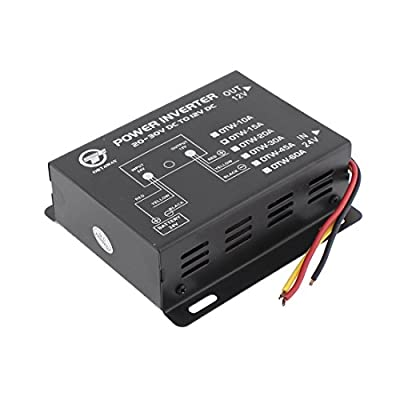 uxcell® DC 24V to 12V Voltage 15A Reducer Converter Transformer Black for Car