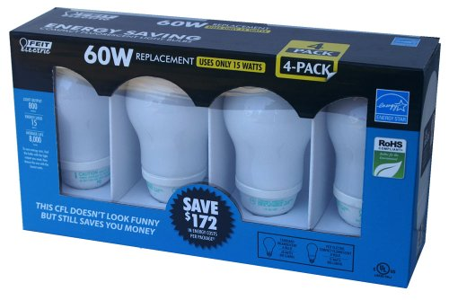 Feit Electric 60 Watt Replacement Bulbs, Use Only 15 Watts, 4 Pack