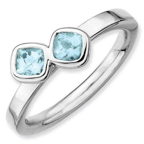 Sterling Silver Stackable Expressions Db Cushion Cut Aquamarine Ring (Size 7)