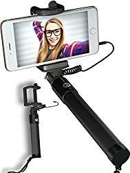 Wired Selfie Stick, ImpactStrong No Battery Selfie Stick With [Extendable Cable Control] Remoteless [No Bluetooth] [No Charging] For iPhone 5 6 6s & 6 6S plus - Samsung Galaxy S6 Edge Note 4 5 - Black