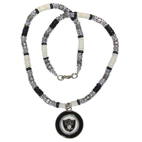 Oakland Raiders Women's LifeTiles Ribbon Bead Necklace - Black