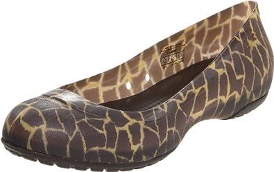 Crocs Women's Carlisa Giraffe Ballet Flat,Espresso,4 M US