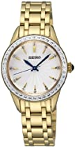 Seiko Silver Dial Gold-Tone Stainless Steel Crystals Ladies Watch SRZ386