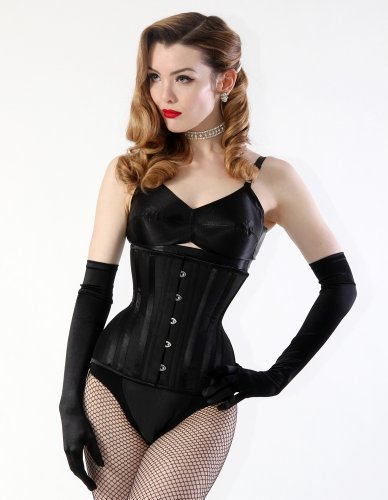 What Katie Did Black Raw Silk Mae Underbust Corset L4088