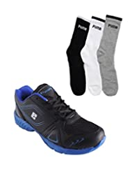 Elligator Black & Blue Stylish Sport Shoes With Puma Socks For Men's - B0144R4DJ8