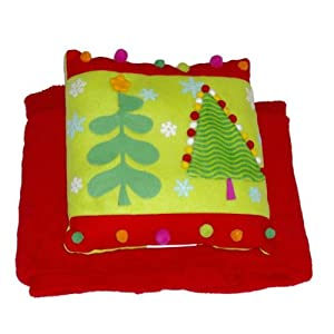Holiday Time Pom Christmas Tree Accent Pillow & Super Soft Red Throw Blanket Set