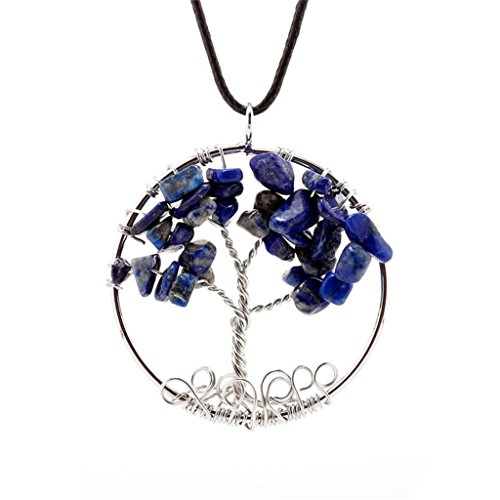 Dream Alice DA-XL563-blue Tree Of Life Pendant Necklace Handmade Necklace (Blue)