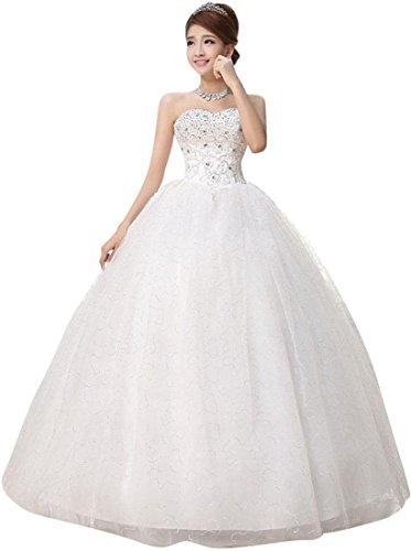 jeansian Donne Bianco Senza Spalline Formale Matrimonio Vestito Ballo Di Fine Anno Abito WVA001 White M