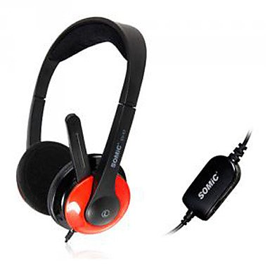 Somic Ev-63 Elegant 3.5Mm Gaming On-Ear Headphone With Mic And Remote For Pc/Ps3 ( Color : Red )