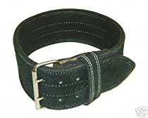 "Leather Power Weight Lifting Belt- 4"" Black (Small)"