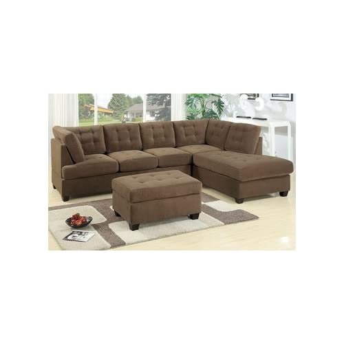 Burbank truffle waffle suede sectional with for Amazon sectional sofa with chaise