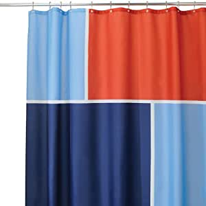InterDesign Color Block Shower Curtain Blue And Red 72 Inch By