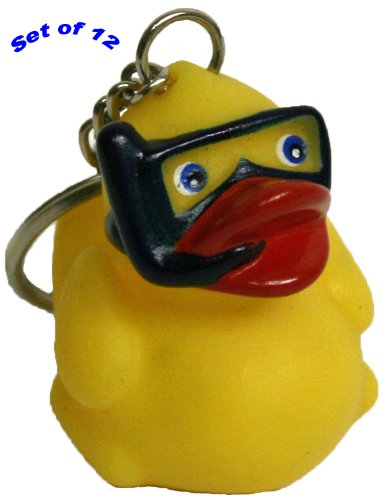 Waddlers Themed Snorkel Mini Rubber Duck Key Chain Party Gift Pack Of 12 front-948136