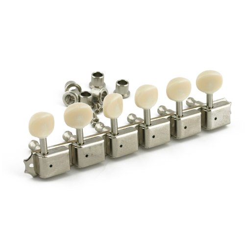 Kluson Guitar Tuning Machines - 6 On A Plate - Left Side - Nickel - Sd91Pln-L