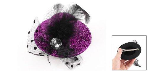 Women Party Faux Crystal Mesh Bowknot Detail Tinsel Cover Design Hat Alligator Hair Clip Fuchsia cover party поколение