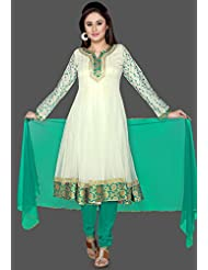 Utsav Fashion Women's Off White Net Readymade Anarkali Churidar Kameez-X-Large