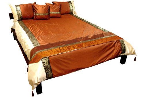 6pc.Thai Lucky Elephant Design Comforter Cover & Bedding Set - U.S. Std. Queen Size - Bronze