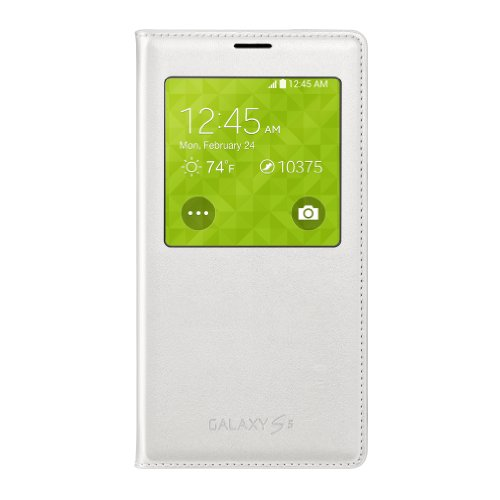 Samsung S-View Flip Cover for Samsung Galaxy S5 - Retail Packaging - White