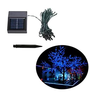 [Promotion] Blue 6M 18ft 50 LED Solar Powered String Lights Led Lights Solar Light Strings Tree String Lights for Garden Christmas Wedding Party