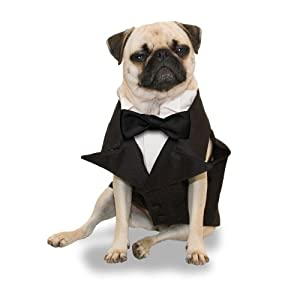 Scooter's Friends Tailored Dog Tuxedo, Size X-Small, Black