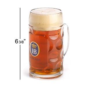 0.5 Liter HB Hofbrauhaus Munchen Dimpled Glass Beer Stein